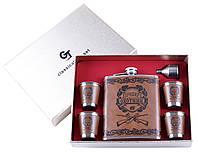 Сувенирные подарочные наборы готовые оригинальные Лучший Охотник фляга лейка 4 стопки Кожа №TZ-29-2