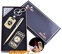 Сувенирные подарочные наборы готовые оригинальные брелок ручка зажигалка Mercedes-Benz Турбо пламя №ST-5642B