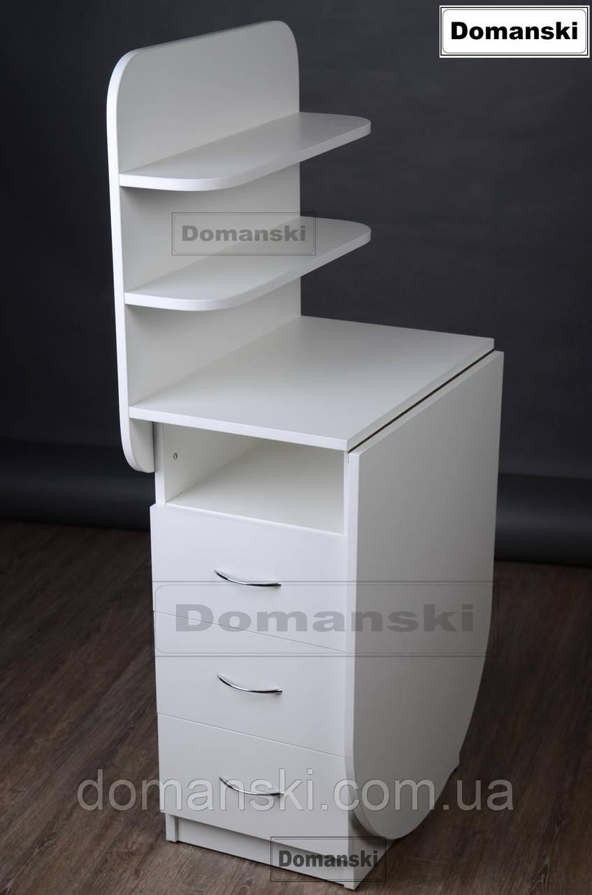 Маникюрный стол с ящиками и двумя полочками.