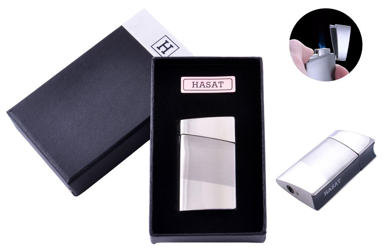 Запальничка в подарунковій коробці HASAT (Турбо полум'я) №4317 Silver