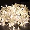 Лед гирлянда на елку 15 метров 500 LED (лампочек) Теплый белый, Белый кабель, гирлянда новогодняя (NV)