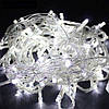 Новогодняя гирлянда 15 метров 500 LED (лампочек) Холодный белый, Белый кабель, гирлянда на окно (NV)