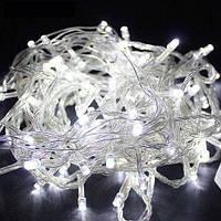 Новогодняя гирлянда 15 метров 500 LED (лампочек) Холодный белый, Белый кабель, гирлянда на окно (NV), фото 1