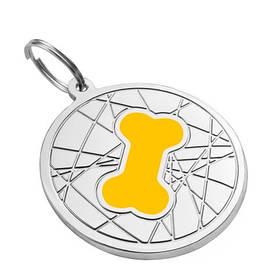 Адресник эмалированный Косточка на фоне паутинки желтый, диаметр 2,5см или 3,2см (гравировка под заказ