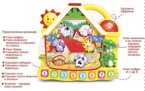 "Пианино ""Е-Нотка. Домик"" (на русском языке) CY-6071B"