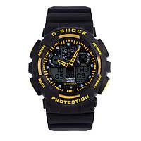 Часы Касио Джи Шок G-SH**K GA-100 (черные с желтым) Мужские /Женские (чоловiчi, жіночі) Наручний годинник часи