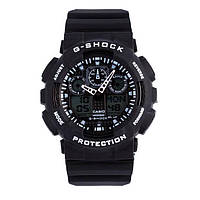 Часы Касио Джи Шок Casio G-Shock ga-100 Black-White (черные с белым) наручний годинник