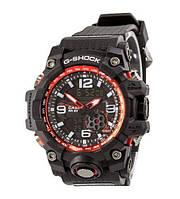 Часы Мужские CAS** GG-1000 (касио джи-шок) Черный ремешок, черно-красный цф, Спортивные