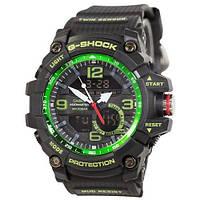 Часы Мужские CAS** GG-1000 (касио джи-шок) Черный ремешок, черно-зеленый цф, Спортивные
