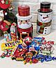 Сладкий новогодний подарок в жестяной упаковке Санта  /Снеговик  400г