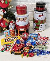 Сладкий новогодний подарок в жестяной упаковке Санта  /Снеговик  400г, фото 1