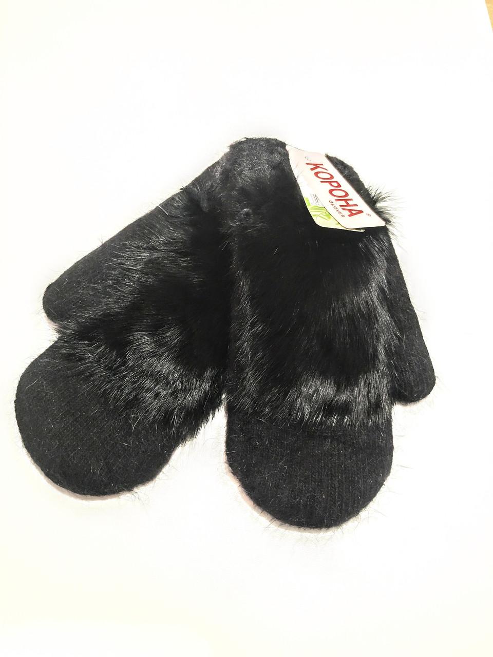 Варежки рукавички женские ангора на меху двойные черные