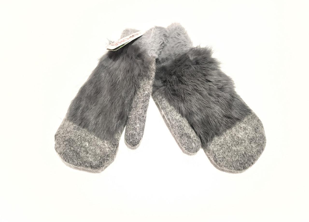 Варежки рукавички женские ангора на меху двойные темно серые