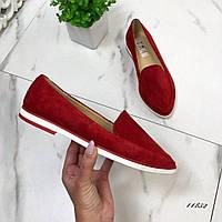 Туфли лоферы женские красные натуральная замша 41 размер