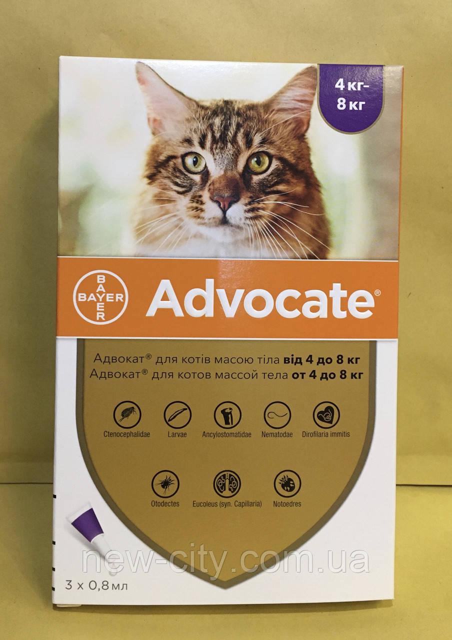 Advocate* (Адвокат) Bayer  капли для кошек от 4 кг до 8 кг (3 пипетки )