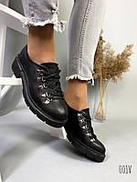 Женские туфли кожаные чёрные
