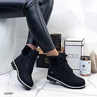 Женские ботинки Timb чёрные нубук 36 размер