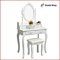 Cтолик косметический с зеркалом и табуретом белый Bonro B-011 Стол туалетный для спальни с выдвижными ящиками