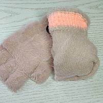 Перчатки шерстянные без пальцев для девочки Возраст 5-10 лет, фото 4