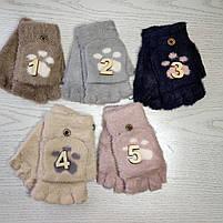 Перчатки шерстянные без пальцев для девочки Возраст 5-10 лет, фото 2