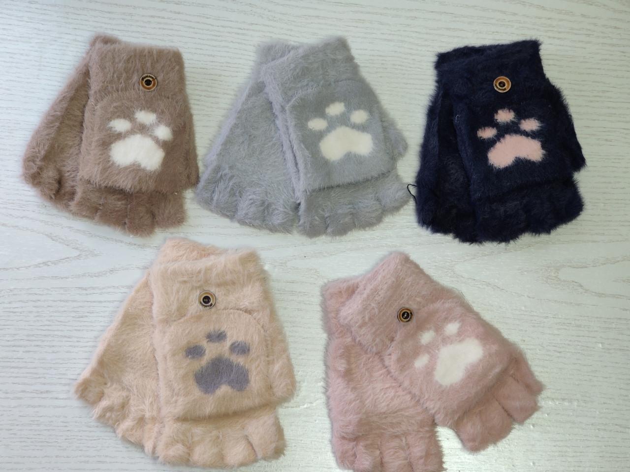 Перчатки шерстянные без пальцев для девочки Возраст 5-10 лет
