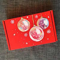 Новогодняя подарочная картонная коробка Елочные шары с наполнителем.17*12*4,5Под заказ любой рисунок и размер.