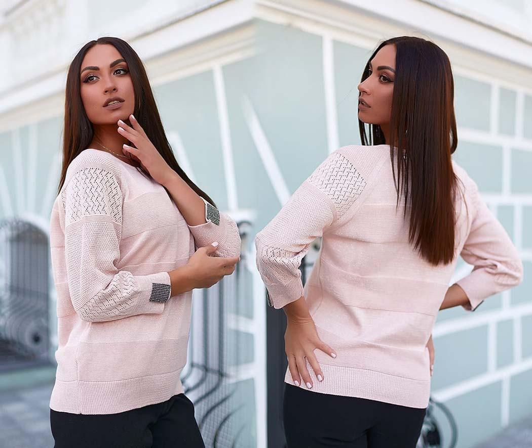 Женский нарядный вязаный свитерок в больших размерах в расцветках (213-4095)
