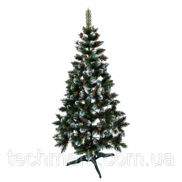 Новогодняя искусственная елка Фабрика Елок 1,8 м Зеленая с Заснеженными ветками и шишками с подставкой.
