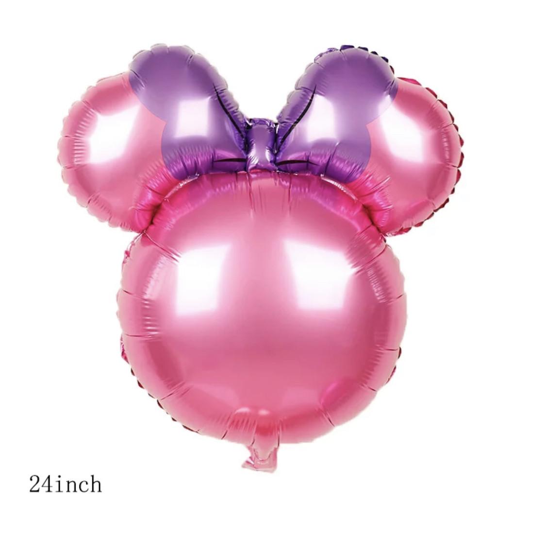 Фольгированный шар Микки розовый с фиолетовым бантом.Размер 62*73 см.