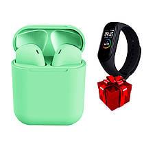 Беспроводные сенсорные наушники TWS i12 Magnetto зеленые + фитнес-браслет Band М5