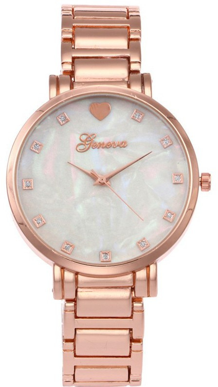 Годинник Geneva металеві з камінням рожеве золото