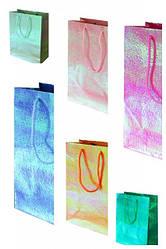 Пакет бумажный с радужной плёнкой и объёмным тиснением, МИКС 6 видов, 26*32*12см по 6шт в уп* //