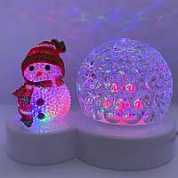 Новогодний светильник диско шар вращающийся Снеговик светодиодный LED Настольный проектор рождественский