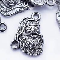 Кулон Дед Мороз, Металл, Цвет: Античное Серебро, Размер: 19х13.5х3мм, Отверстие 2мм, (УТ0024645)