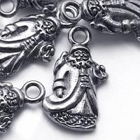Кулон Дед Мороз, Металл, Цвет: Античное Серебро, Размер: 22х13х3мм, Отверстие 2.5мм, (УТ0024648)