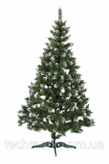 Новогодняя искусственная елка Фабрика Елок 1.3 м Зеленая с Заснеженными ветками с подставкой.