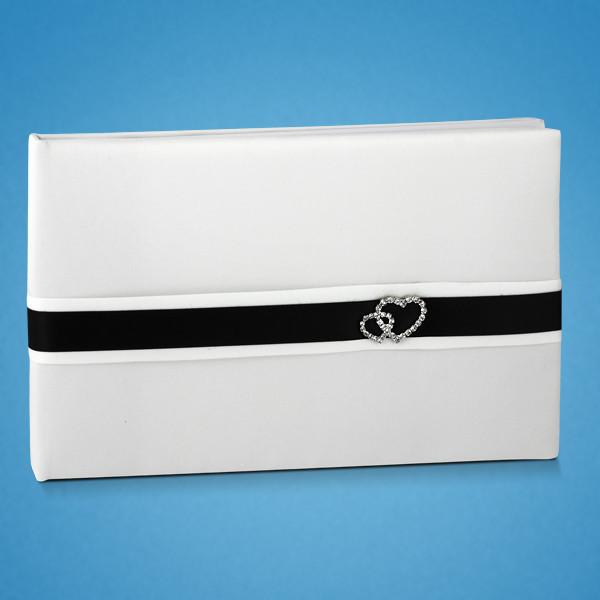 Свадебная книга пожеланий с черной лентой