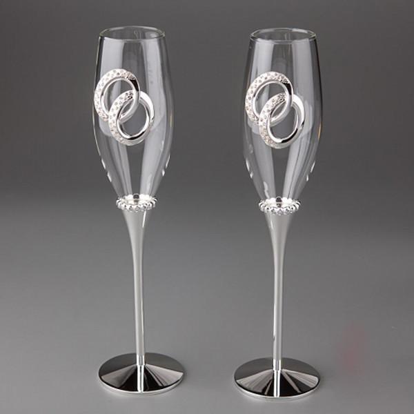"""Свадебные бокалы на металлической ножке """"Кольца"""""""