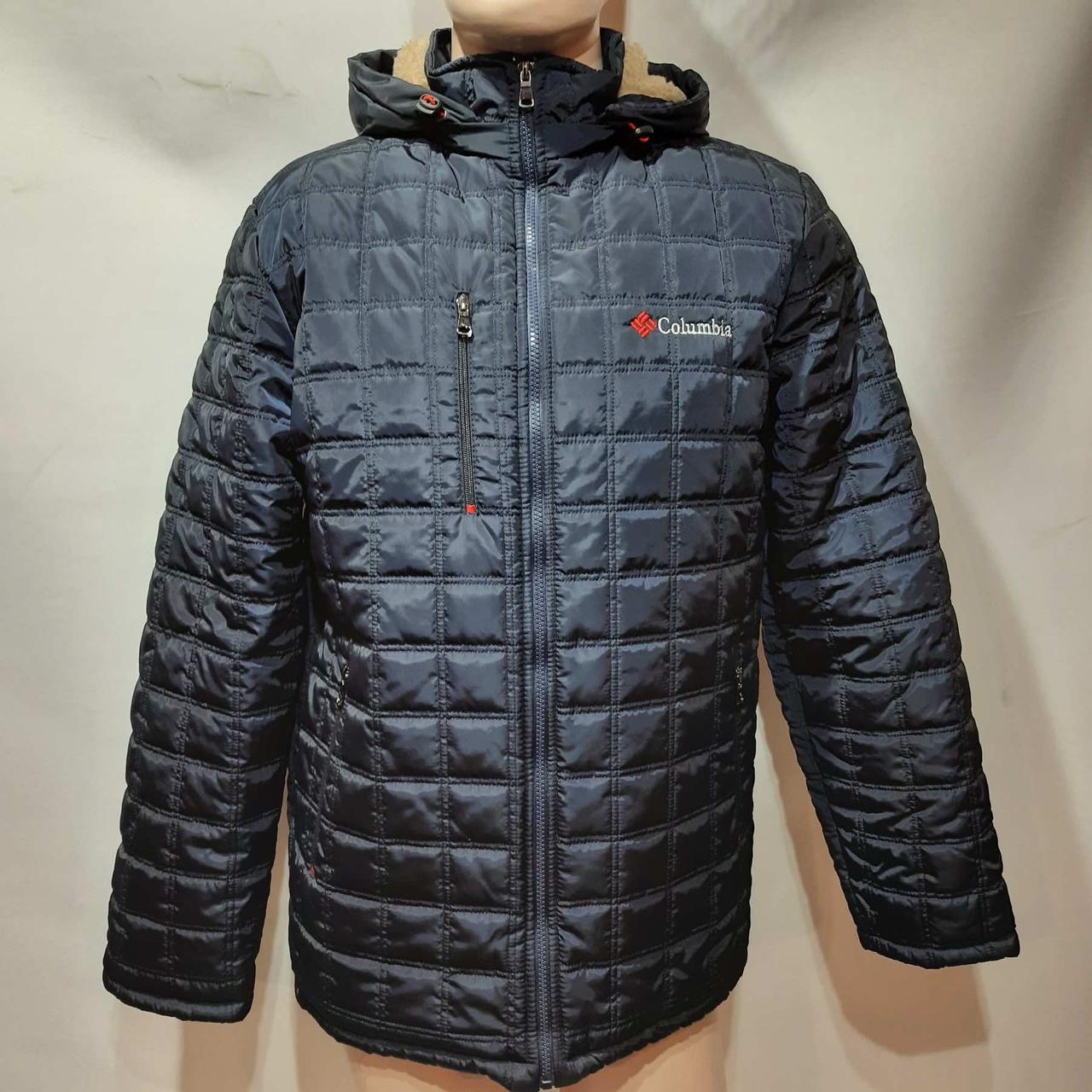 Зимняя мужская куртка (Больших размеров) на подкладке овчине Турция Темно-синяя