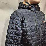 Зимняя мужская куртка (Больших размеров) на подкладке овчине Турция Темно-синяя, фото 5