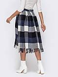 Расклешенная юбка-миди в клетку с бахромой по низу, фото 6