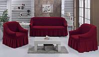 Чехол натяжной диван накидка для мягкой мебели с юбкой съемный какао Home Collection Evibu Турция