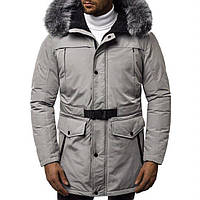 Мужская парка куртка теплая светло-серая зимняя, мужские куртки зимние длинные
