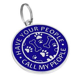 Адресник емальований Call My People синій, діаметр 2,5 см або 3,2 см (гравірування під замовлення 3-7 днів)