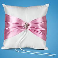 Свадебная подушечка для обручальных колец с розовой лентой