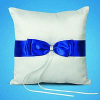 Вадебная подушечка для обручальных колец с синей лентой