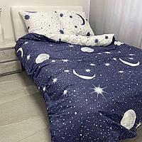 Постельный комплект полуторный 145х215 хлопок Космос звездное небе черно белый звезды