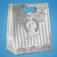 Бумажный пакет для свадебного каравая, сладостей и свадебных шишек, серебро C-0041