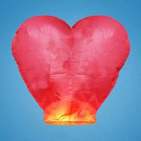 Небесный фонарик красный в форме сердца