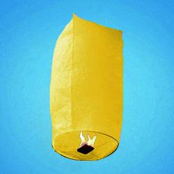 Небесный фонарик желтый в виде купола